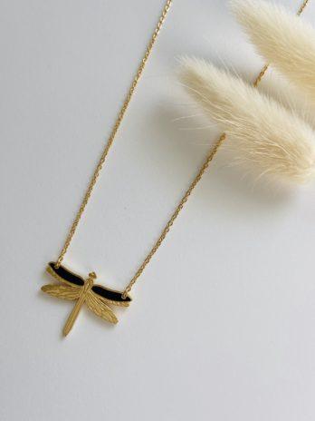 Collier doré libellule email noir