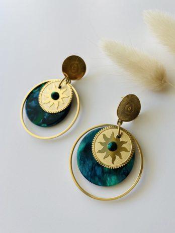 Boucles d'oreilles dorées plexi bleu vert