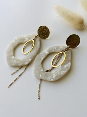 Boucles d'oreilles dorées plexi blanc