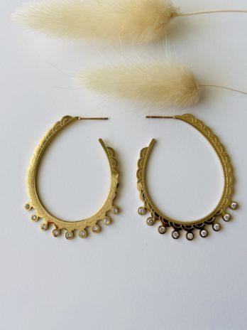 Boucles d'oreilles dorées créoles strass