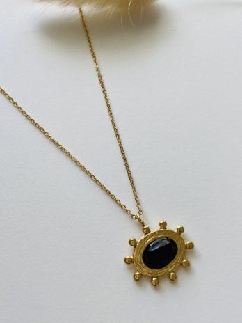 Collier doré et onyx