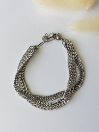 Bracelet argenté Double mailles