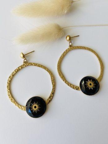 Boucles d'oreilles dorées et onix