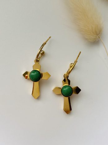Boucles d'oreilles dorées pierres naturelles