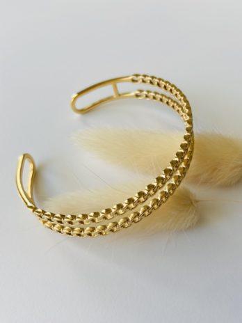 Bracelet doré jonc maille chaine