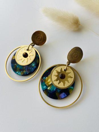 Boucles d'oreilles dorées plexi coloré