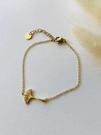 Bracelet doré ginkgo