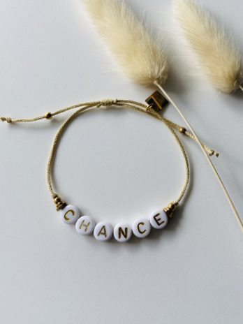 Bracelet doré message chance