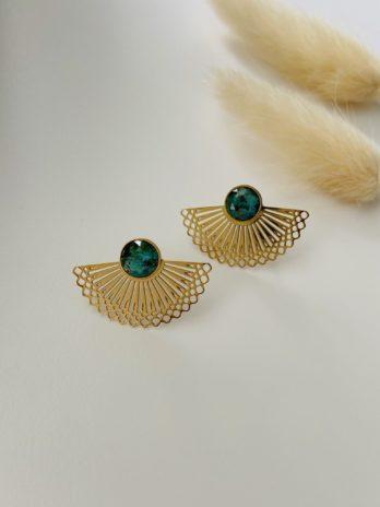 Boucles d'oreilles dorées et pierre naturelle