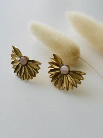 Boucles d'oreilles dorées épi et pierre naturelle