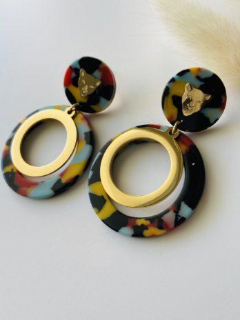 Boucles d'oreilles dorées panthère