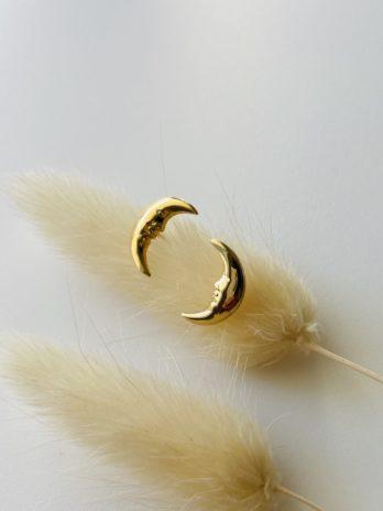 Boucles d'oreilles dorées lune
