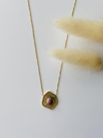 Collier doré pierre naturelle