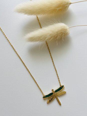 Collier doré libellule email vert