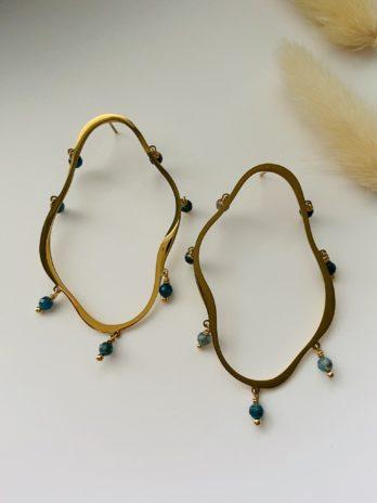 Boucles d'oreilles dorées et pierres naturelles