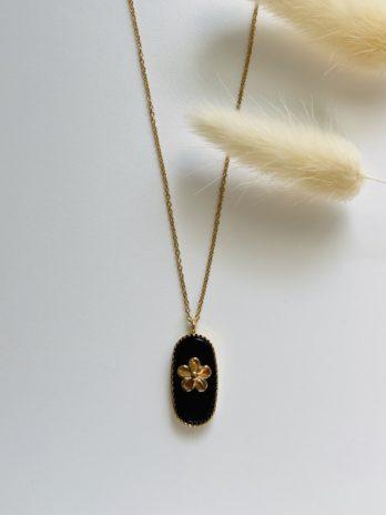 Collier doré onix et fleur
