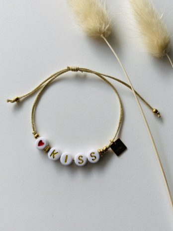 Bracelet doré message kiss