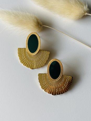 Boucle d'oreilles dorées email vert