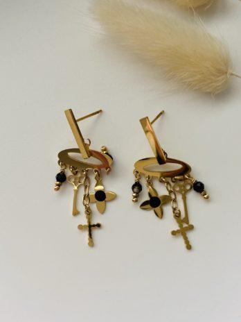 Boucles d'oreilles dorées breloques
