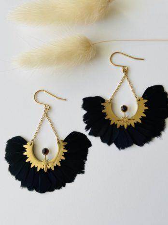 Boucles d'oreilles dorées plumes