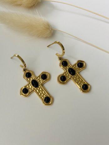 Boucles d'oreilles croix pierres naturelles