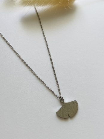 Collier argenté Feuille gingko