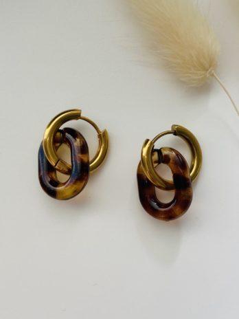 Boucles d'oreilles créoles et plexi