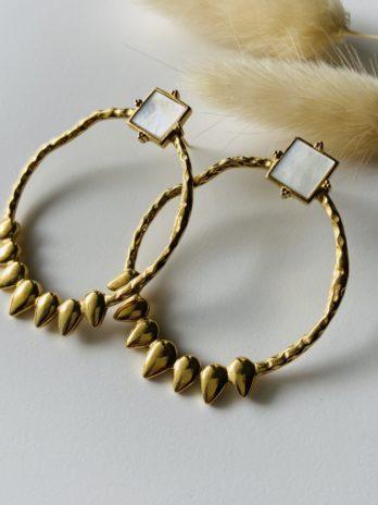 Boucles d'oreilles dorées nacre