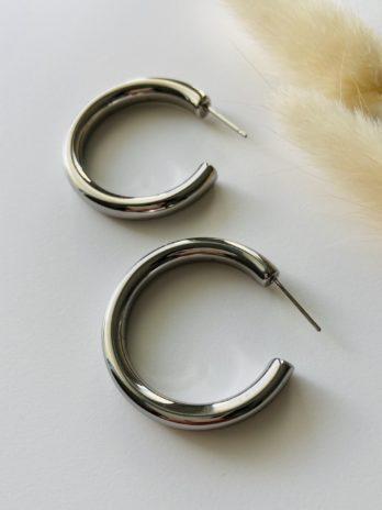 Boucles d'oreilles argentées créoles