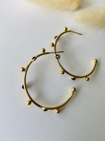 Boucles d'oreilles dorées créoles et onix