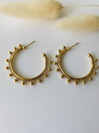 Boucles d'oreilles dorées créoles maya