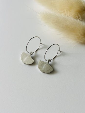 Boucles d'oreilles argentées ginkgo