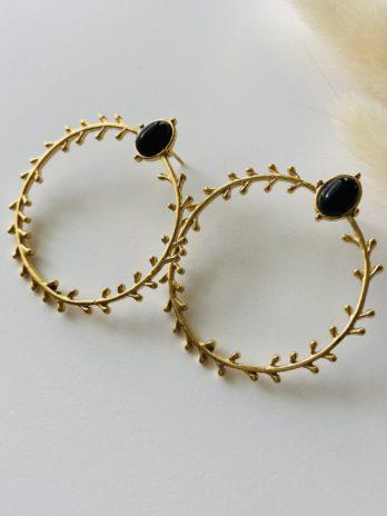 Boucles d'oreilles dorées onyx