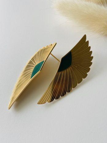 Boucles d'oreilles dorées ailes email vert