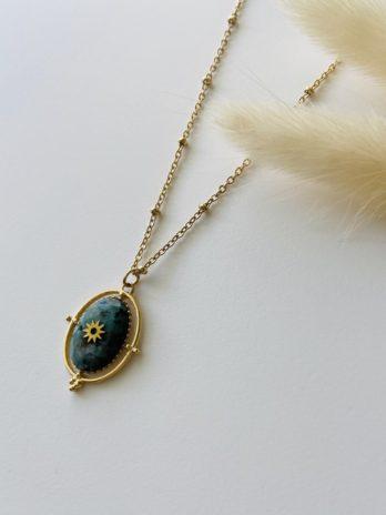 Collier doré pierre naturelle