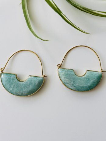 Boucles d'oreilles dorées pierre naturelle