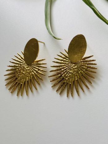 Boucles d'oreilles dorées feuilles palmiers