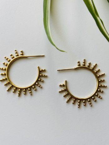 Boucles d'oreilles dorées soleil