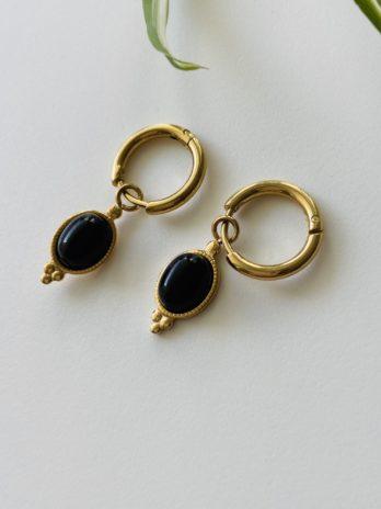 Boucles d'oreilles dorées onix