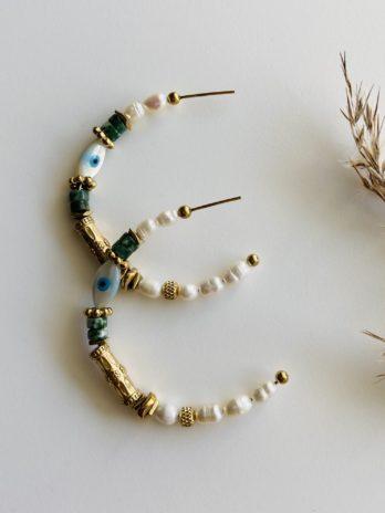 Boucles d'oreilles pampa créoles œils perles naturelles