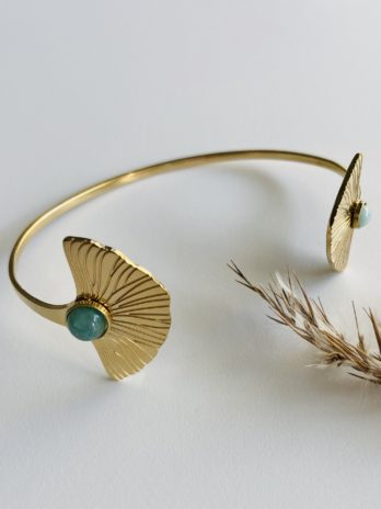 Bracelet doré pampa ginkgo pierres naturelles