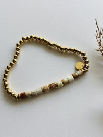 Bracelet doré pampa pierres naturelles