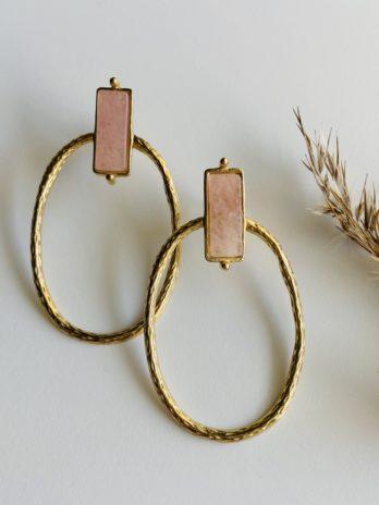 Boucles d'oreilles pampa quartz rose