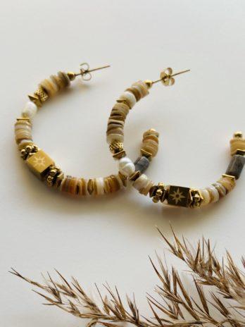 Boucles d'oreilles pampa créole beige