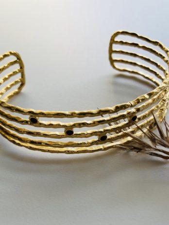 Bracelet doré pampa manchette et onyx