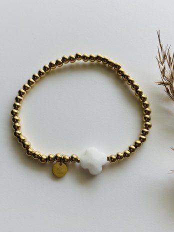 Bracelet doré pampa trèfle blanc