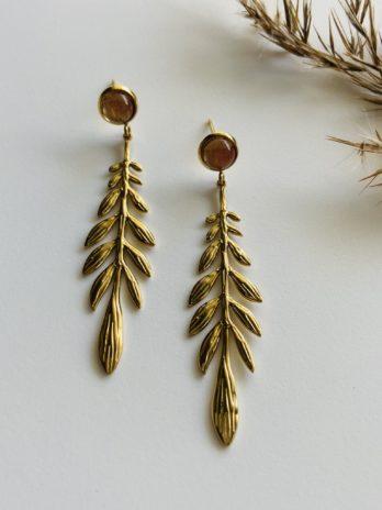 Boucles d'oreilles pampa feuilles et pierres naturelles