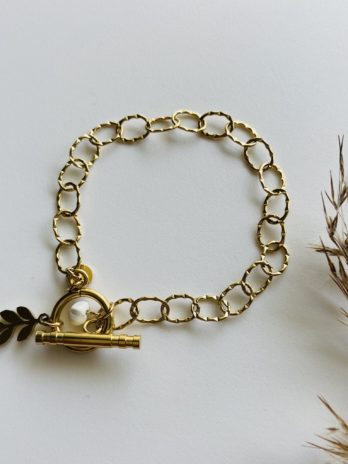 Bracelet doré pampa feuille