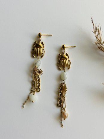 Boucles d'oreilles pampa scarabée pierres naturelles