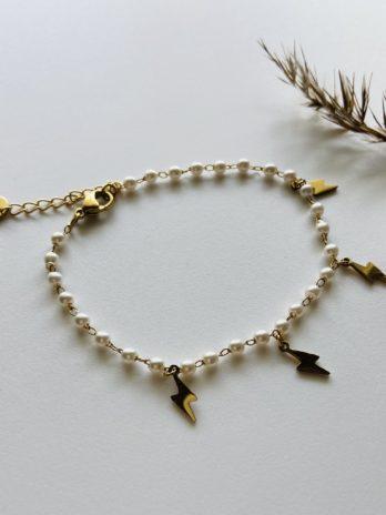 Bracelet doré pampa éclairs perles